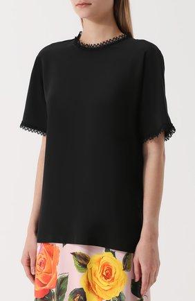 Шелковый топ прямого кроя с кружевной отделкой Dolce & Gabbana черный | Фото №3