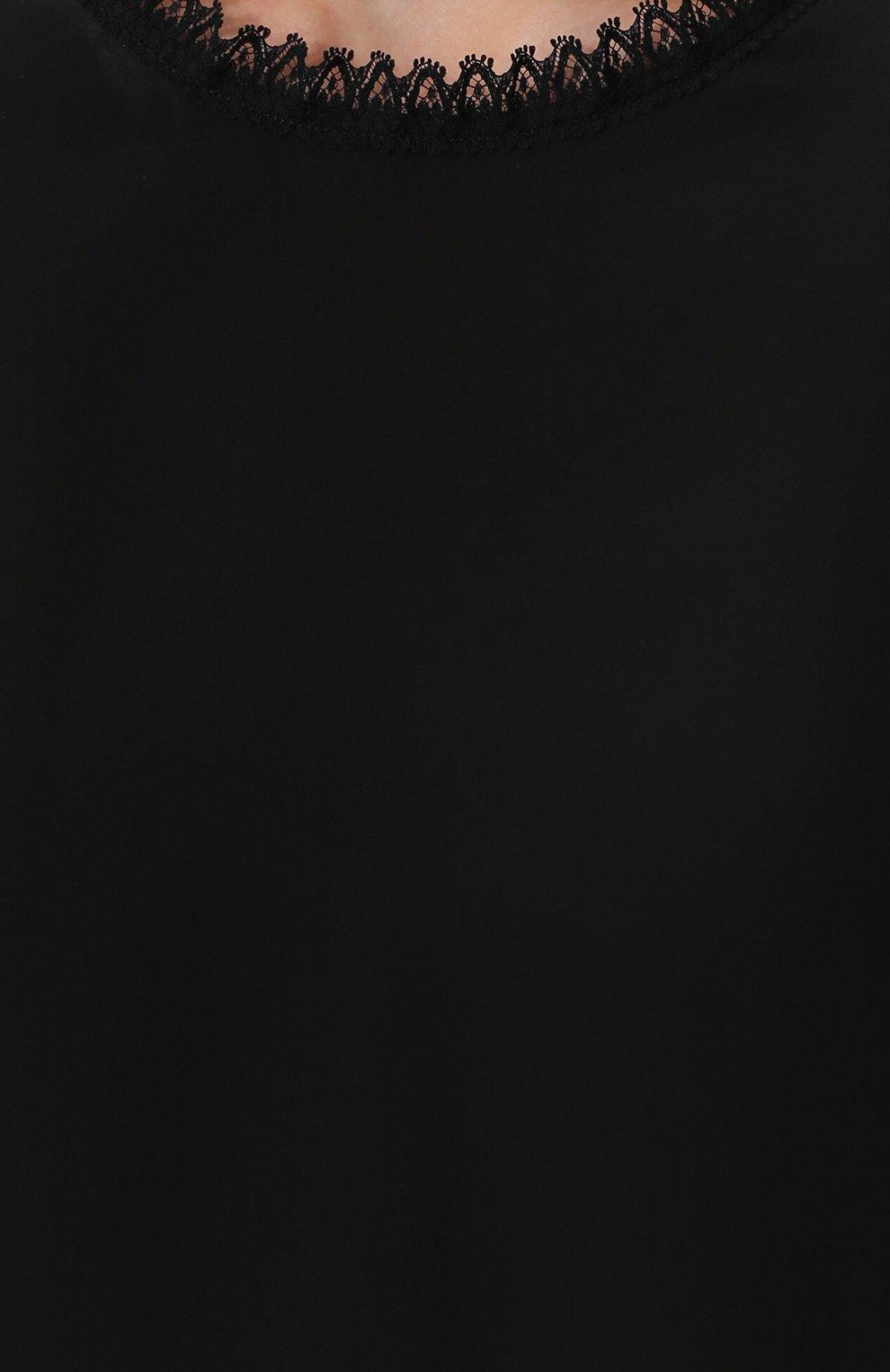 Шелковый топ прямого кроя с кружевной отделкой Dolce & Gabbana черный | Фото №5