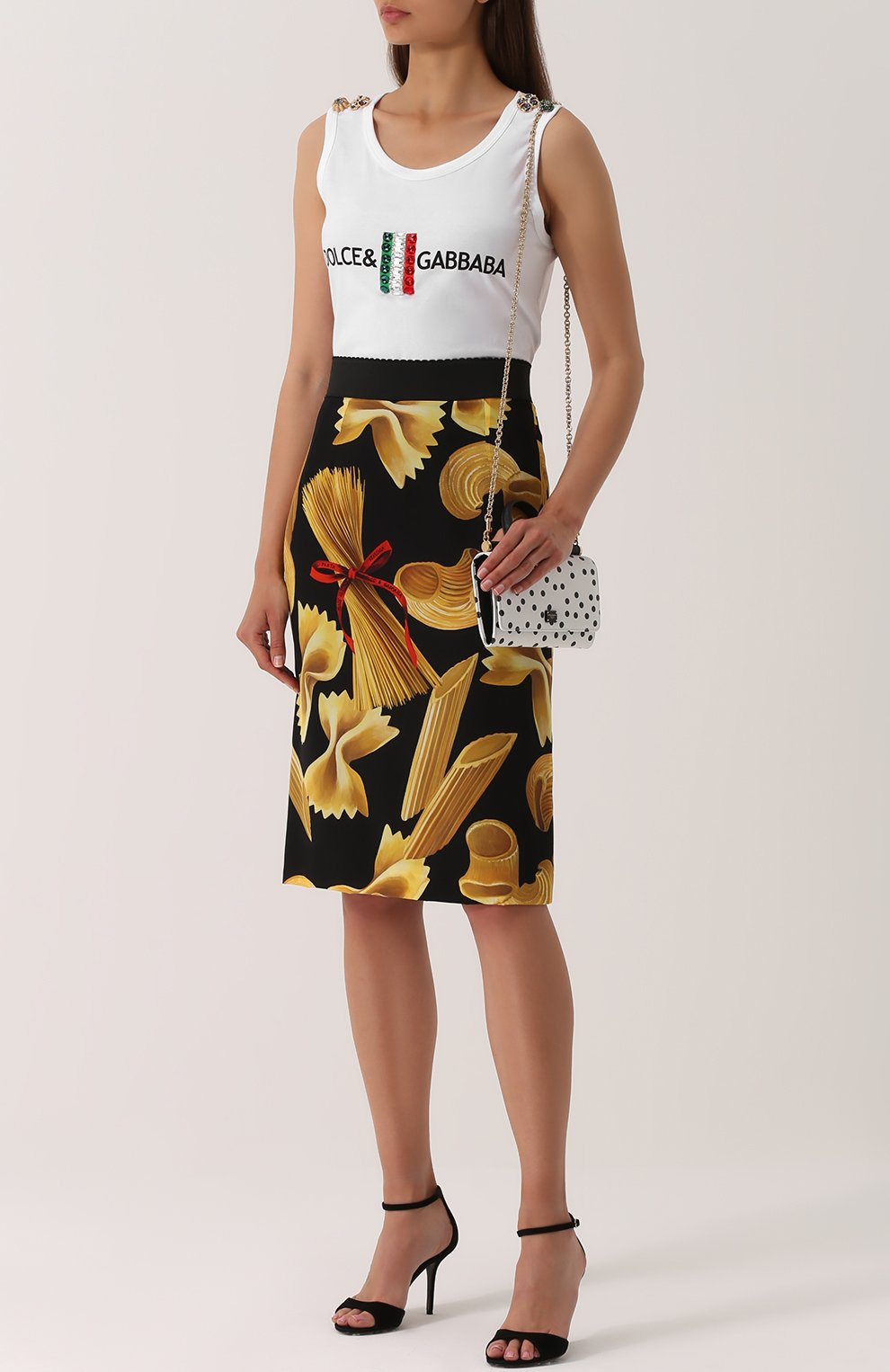 Удлиненный топ с контрастной отделкой Dolce & Gabbana белый | Фото №2