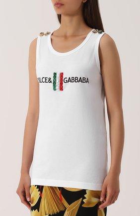 Удлиненный топ с контрастной отделкой Dolce & Gabbana белый | Фото №3