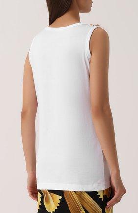 Удлиненный топ с контрастной отделкой Dolce & Gabbana белый | Фото №4