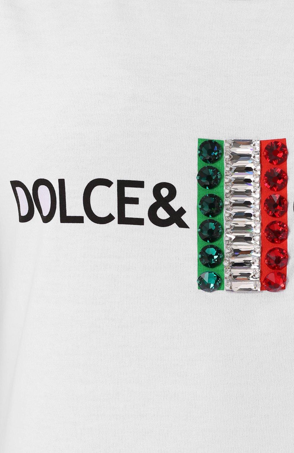 Удлиненный топ с контрастной отделкой Dolce & Gabbana белый | Фото №5