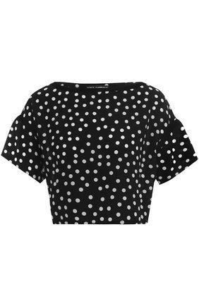 Укороченный шелковый топ в горох Dolce & Gabbana черно-белый | Фото №1