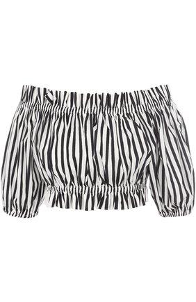 Кроп-топ в полоску с открытыми плечами Dolce & Gabbana черно-белый | Фото №1