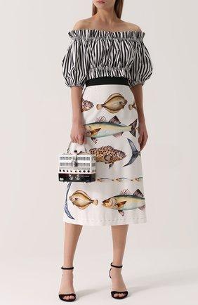 Кроп-топ в полоску с открытыми плечами Dolce & Gabbana черно-белый | Фото №2