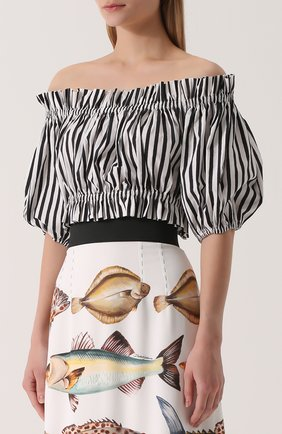 Кроп-топ в полоску с открытыми плечами Dolce & Gabbana черно-белый | Фото №3