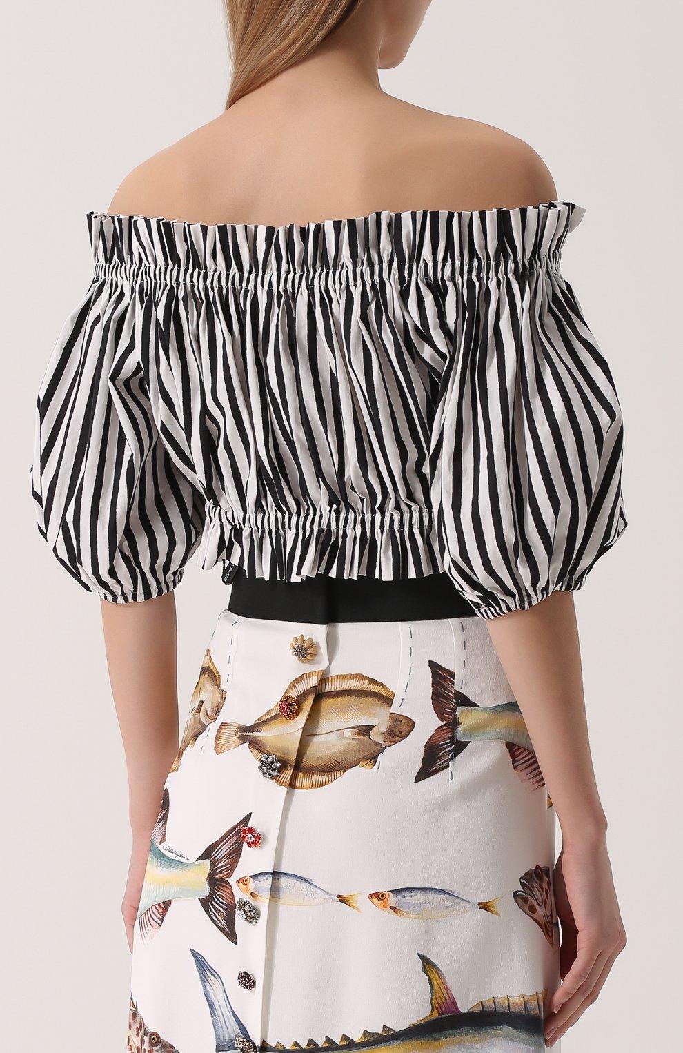 Кроп-топ в полоску с открытыми плечами Dolce & Gabbana черно-белый | Фото №4
