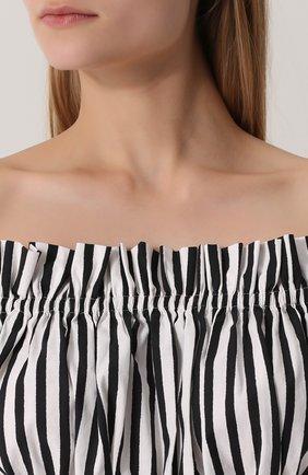 Кроп-топ в полоску с открытыми плечами Dolce & Gabbana черно-белый | Фото №5
