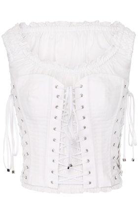 Топ с открытыми плечами и шнуровкой Dolce & Gabbana белый | Фото №1