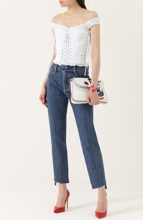 Топ с открытыми плечами и шнуровкой Dolce & Gabbana белый | Фото №2