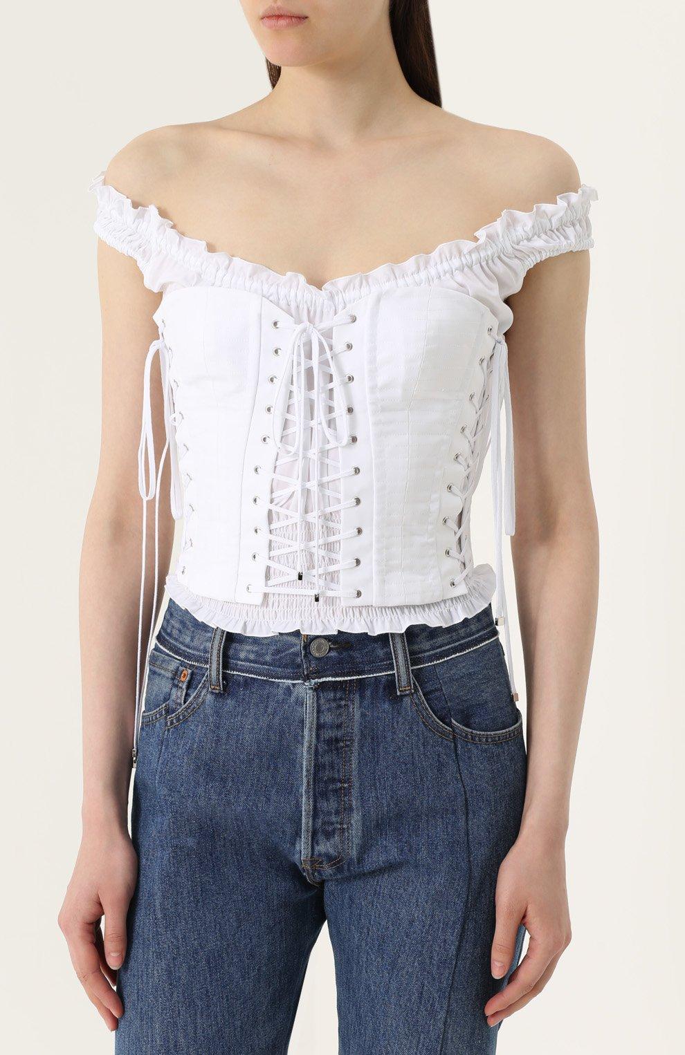 Топ с открытыми плечами и шнуровкой Dolce & Gabbana белый | Фото №3
