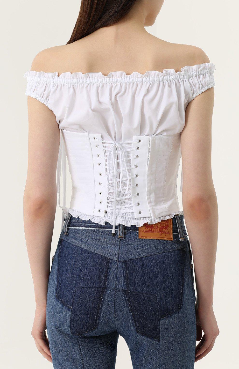 Топ с открытыми плечами и шнуровкой Dolce & Gabbana белый | Фото №4