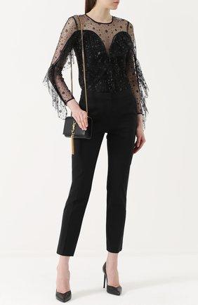 Полупрозрачный топ с оборками и вышивкой Alice McCall черный | Фото №1