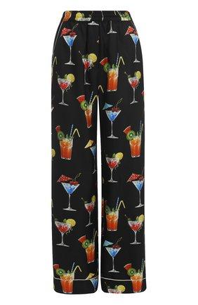 Шелковые брюки прямого кроя с принтом Dolce & Gabbana черные | Фото №1