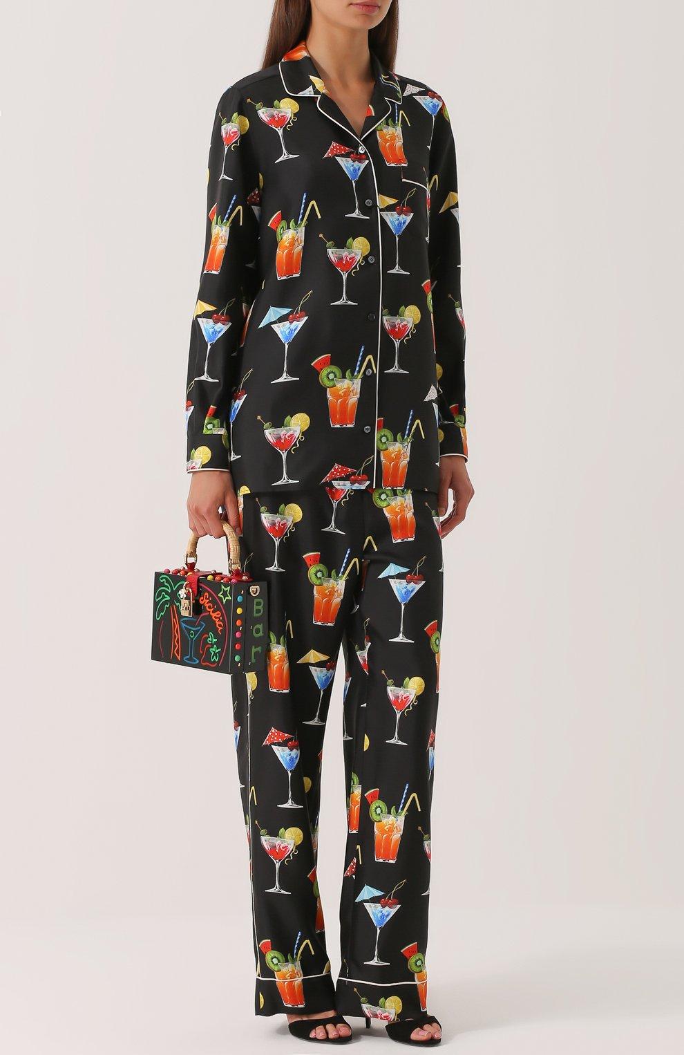 Шелковые брюки прямого кроя с принтом Dolce & Gabbana черные | Фото №2