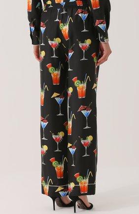 Шелковые брюки прямого кроя с принтом Dolce & Gabbana черные | Фото №4