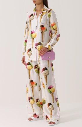 Шелковые брюки прямого кроя с принтом Dolce & Gabbana бежевые | Фото №2