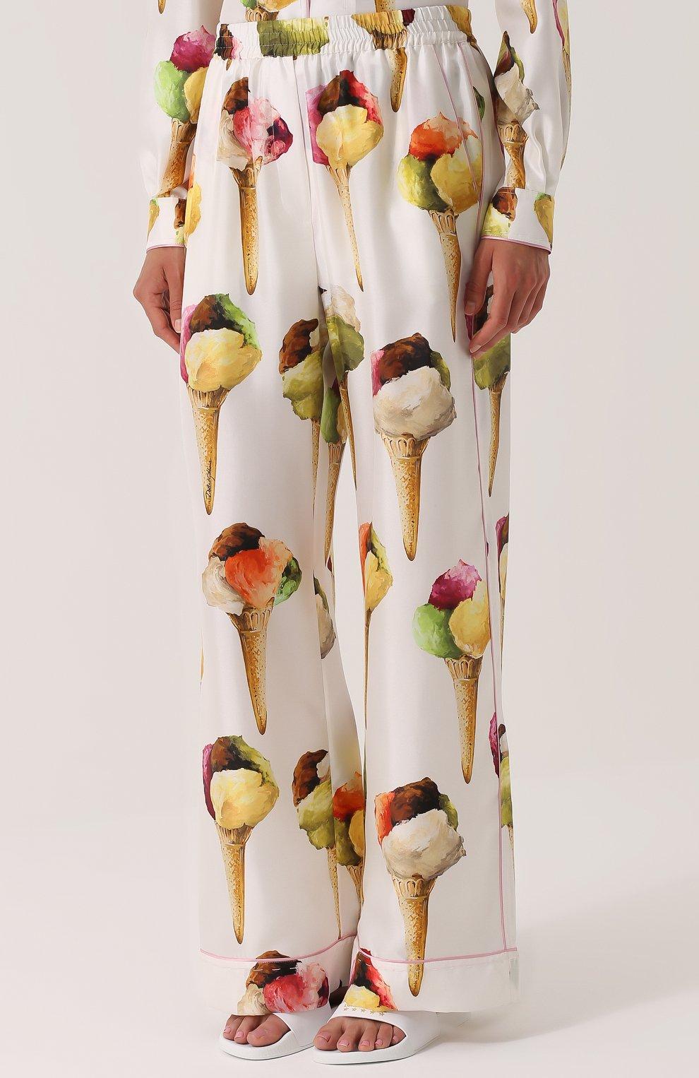 Шелковые брюки прямого кроя с принтом Dolce & Gabbana бежевые | Фото №3