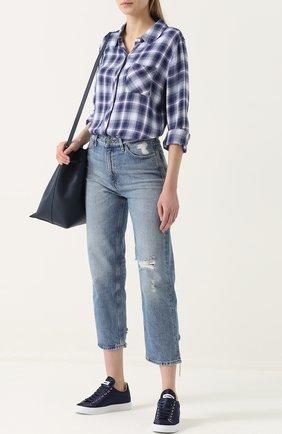 Женская блуза свободного кроя в клетку Rails, цвет голубой, арт. HUNTER/550-027 в ЦУМ   Фото №1