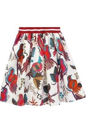 Хлопковая юбка с принтом и контрастной отделкой | Фото №1