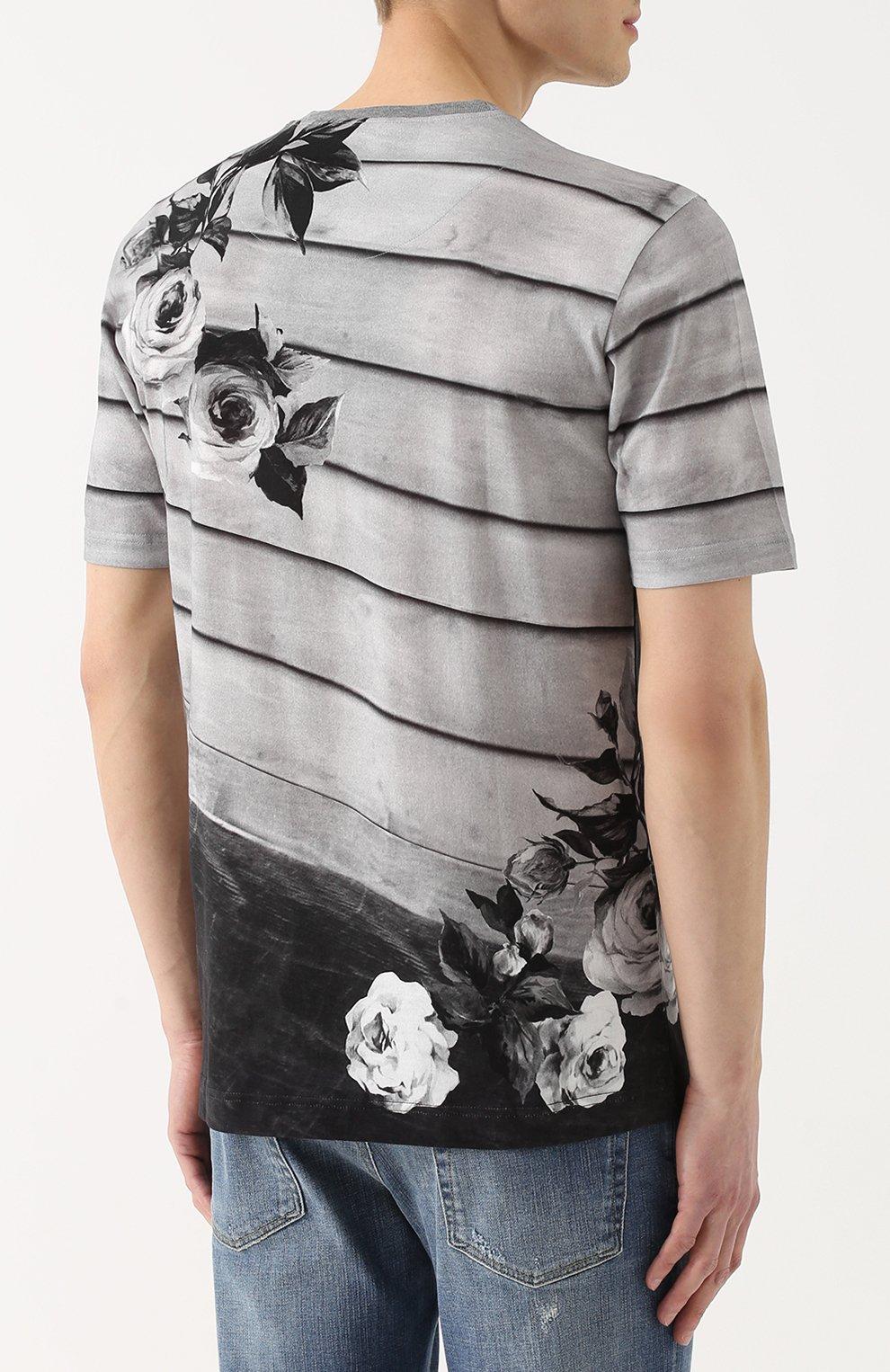 Хлопковая футболка с принтом  Dolce & Gabbana серая | Фото №4