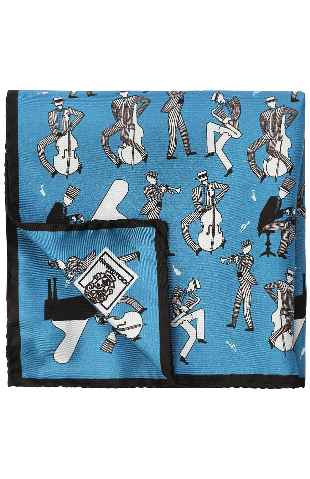Шелковый платок с принтом Dolce & Gabbana синий | Фото №2