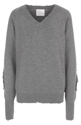 Пуловер свободного кроя с V-образным вырезом Hillier Bartley серый | Фото №1