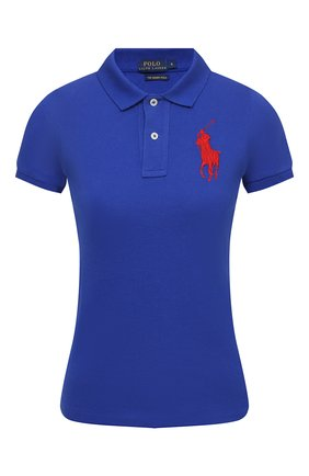 Женское поло с вышитым логотипом бренда POLO RALPH LAUREN синего цвета, арт. V38/I0BPP/C9416 | Фото 1