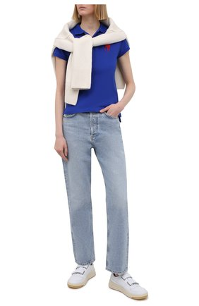 Женское поло с вышитым логотипом бренда POLO RALPH LAUREN синего цвета, арт. V38/I0BPP/C9416 | Фото 2