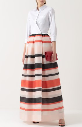 Платье-рубашка в пол с юбкой в полоску sara roka разноцветное | Фото №1