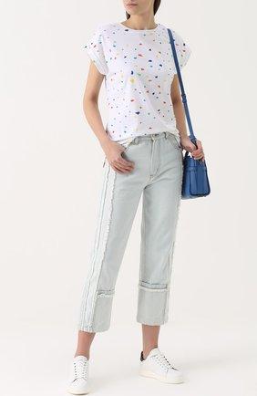 Укороченные джинсы прямого кроя с бахромой Ground-Zero голубые | Фото №1