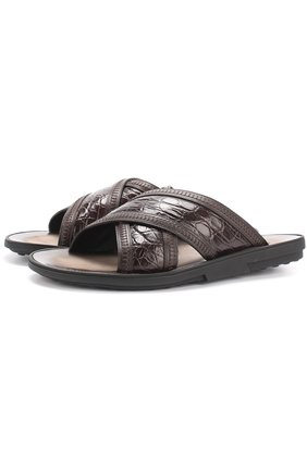 Мужские кожаные шлепанцы с отделкой из кожи крокодила TOD'S темно-коричневого цвета, арт. XXM10A0S690FUP | Фото 1