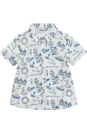 Хлопковая рубашка с принтом Hitch-hiker разноцветного цвета | Фото №1