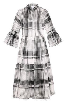 Полупрозрачное платье-рубашка в клетку sara roka черно-белое | Фото №1