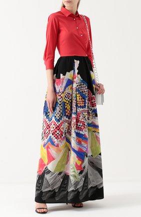 Платье-рубашка в пол с принтованной юбкой sara roka разноцветное | Фото №1