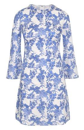 Мини-платье с ярким цветочным принтом Francesco Scognamiglio голубое | Фото №1