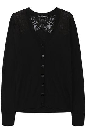 Шелковый кардиган с кружевными вставками Dolce & Gabbana черный | Фото №1