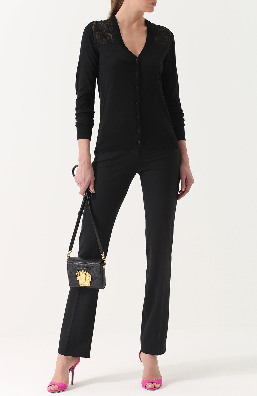 Шелковый кардиган с кружевными вставками Dolce & Gabbana черный | Фото №2