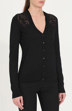 Шелковый кардиган с кружевными вставками Dolce & Gabbana черный | Фото №3