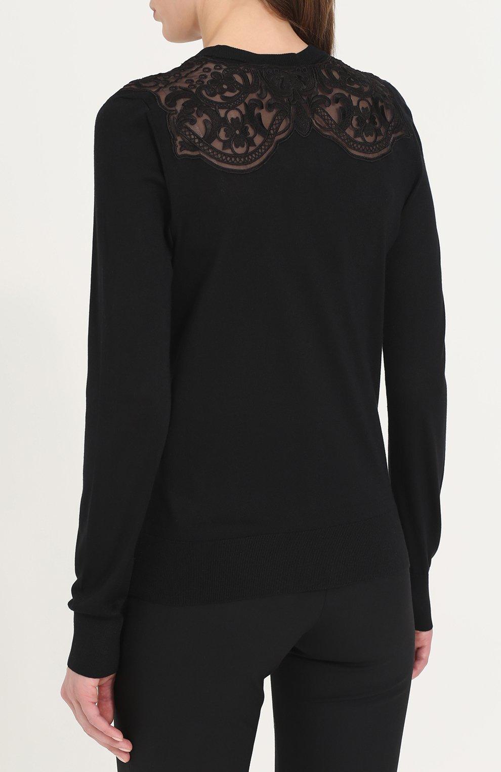 Шелковый кардиган с кружевными вставками Dolce & Gabbana черный | Фото №4