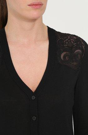 Шелковый кардиган с кружевными вставками Dolce & Gabbana черный | Фото №5