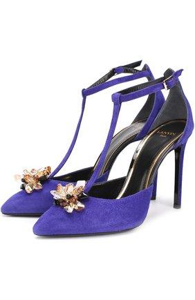 Замшевые туфли с брошью на шпильке | Фото №1