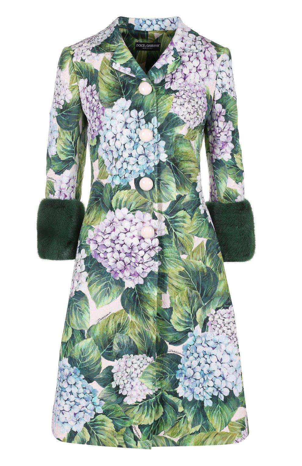 Пальто с цветочным принтом и норковой отделкой   Фото №1