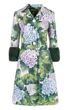 Пальто с цветочным принтом и норковой отделкой Dolce & Gabbana зеленого цвета   Фото №1