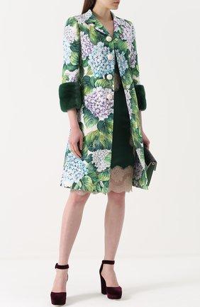 Пальто с цветочным принтом и норковой отделкой Dolce & Gabbana зеленого цвета   Фото №2