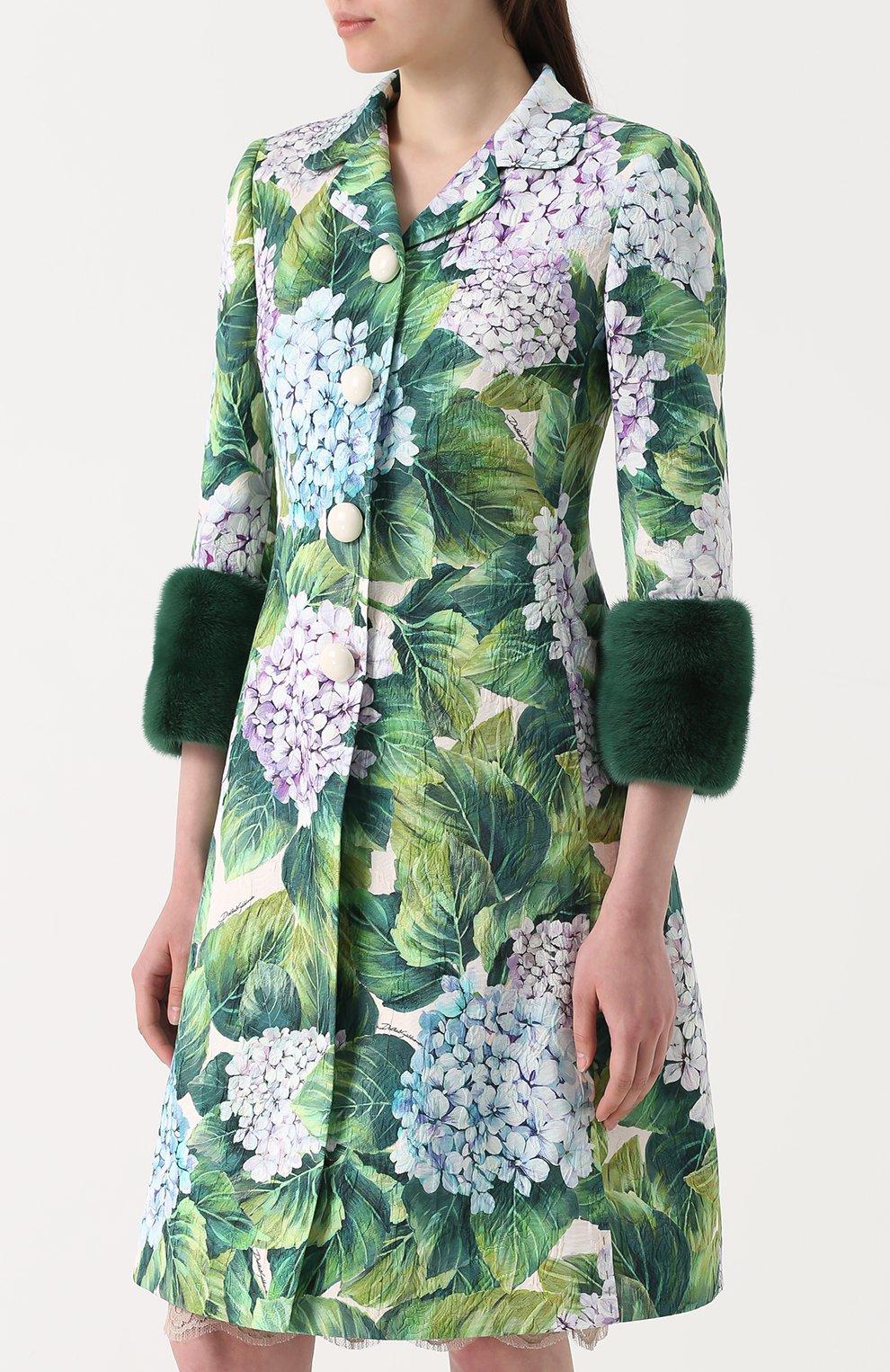 Пальто с цветочным принтом и норковой отделкой Dolce & Gabbana зеленого цвета   Фото №3