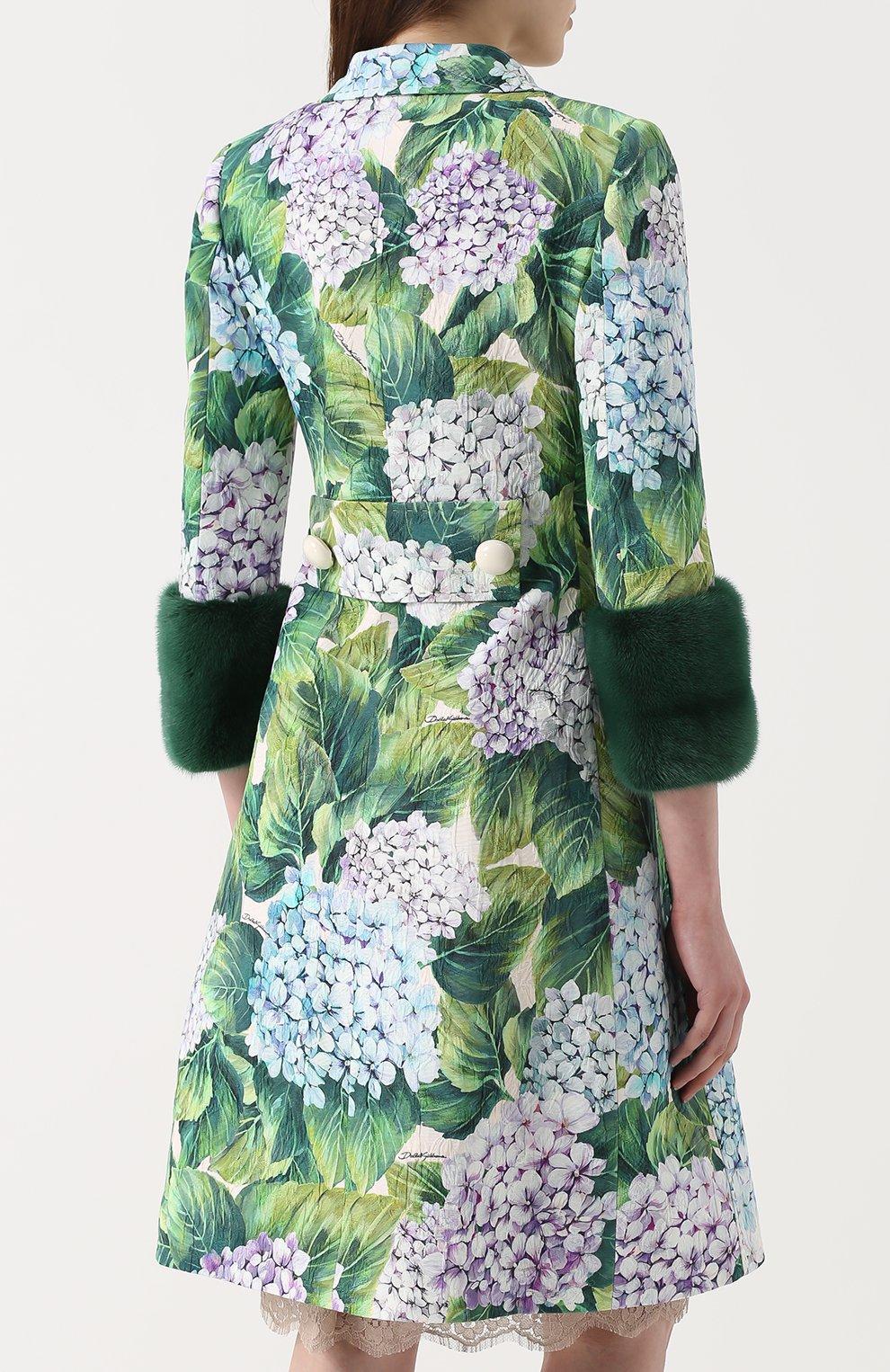 Пальто с цветочным принтом и норковой отделкой Dolce & Gabbana зеленого цвета   Фото №4
