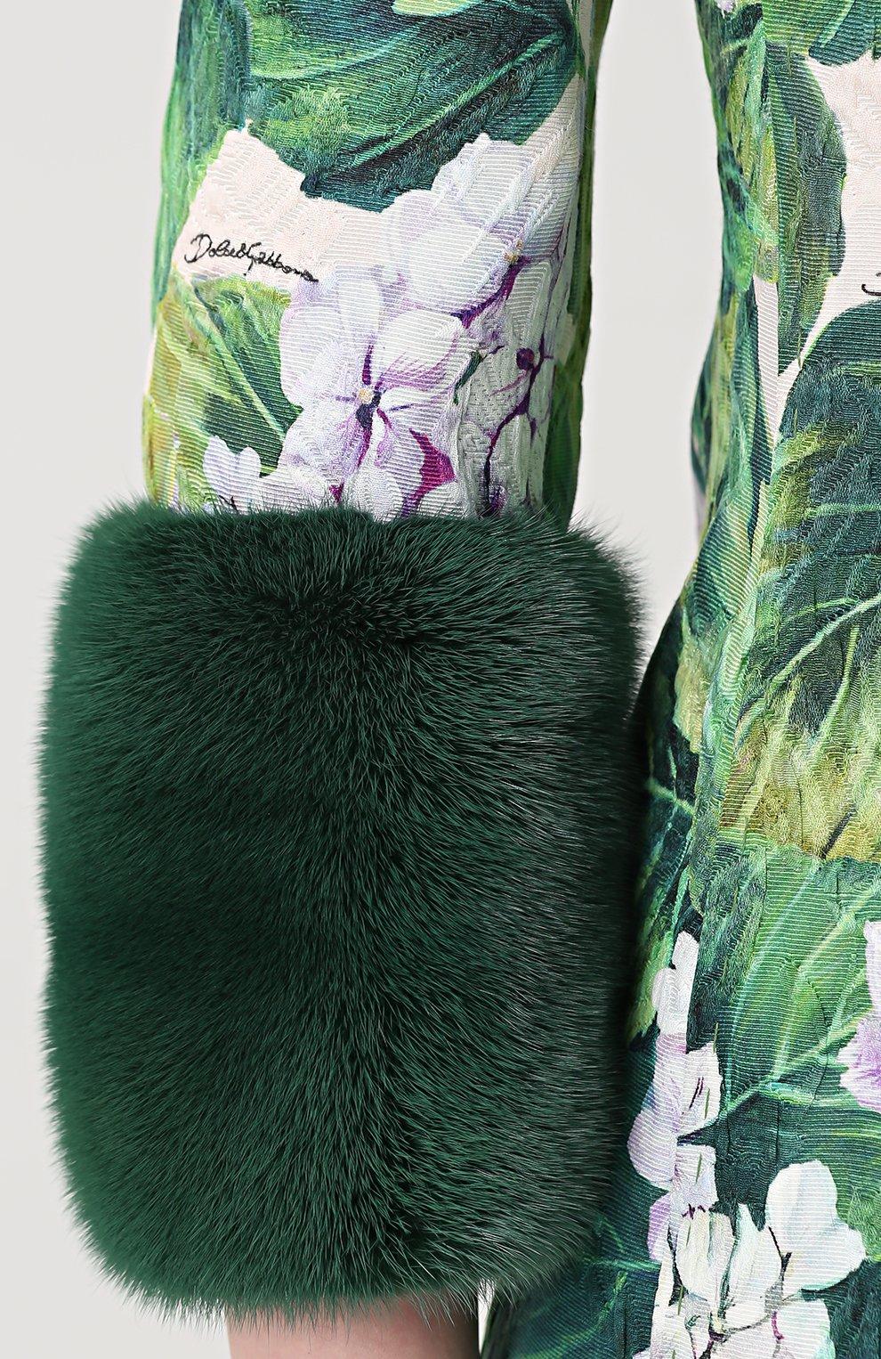 Пальто с цветочным принтом и норковой отделкой Dolce & Gabbana зеленого цвета   Фото №5