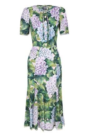 Платье с цветочным принтом и воротником аскот Dolce & Gabbana зеленое | Фото №1