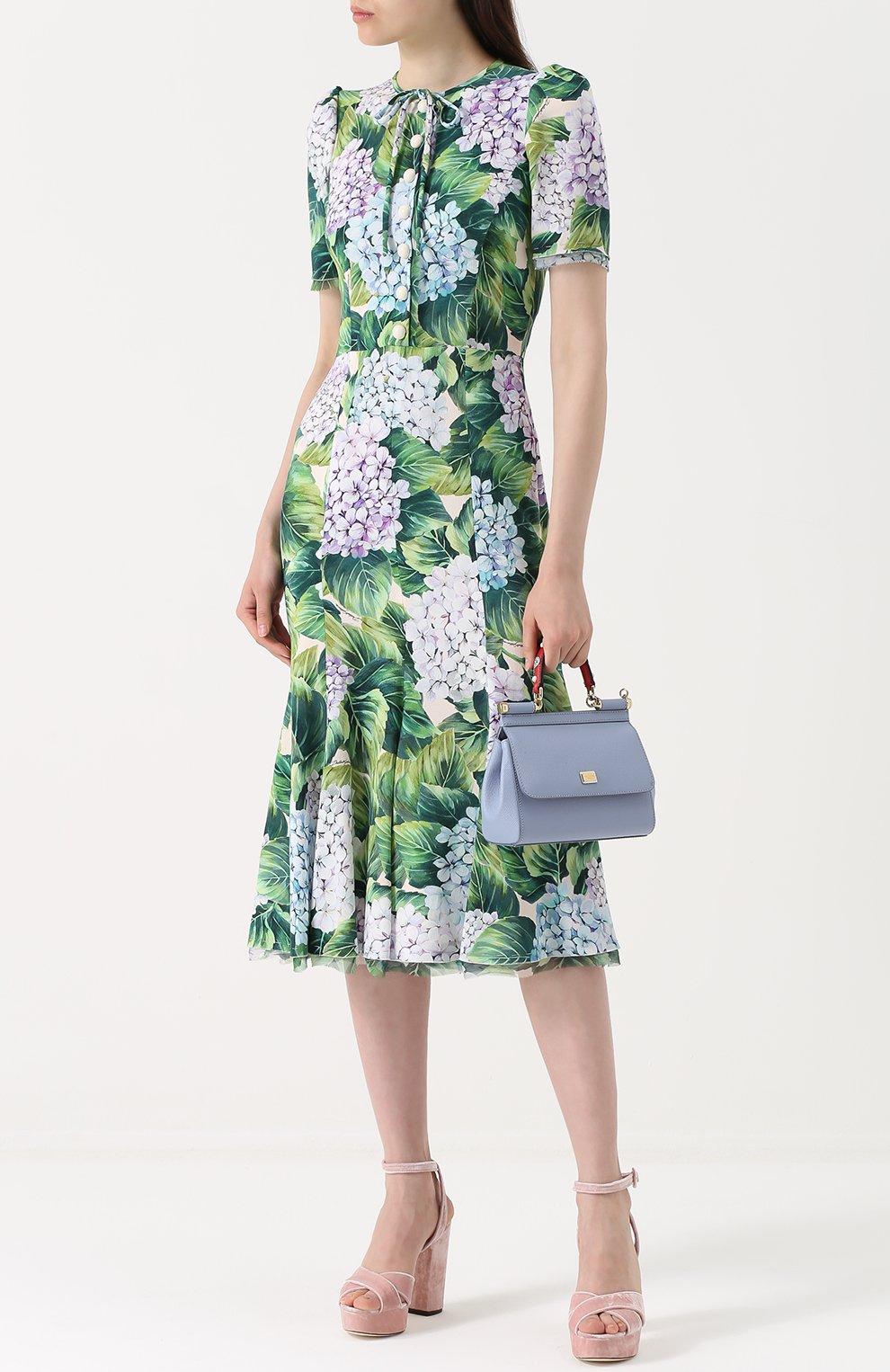 Платье с цветочным принтом и воротником аскот Dolce & Gabbana зеленое | Фото №2